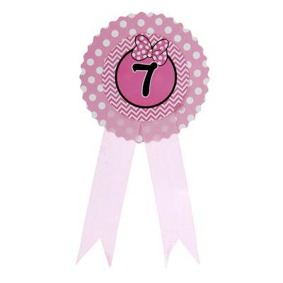 """Значок """"7"""" бантик, розовый цвет"""