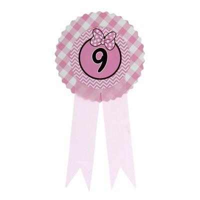 """Значок """"9"""" бантик, розовый цвет"""
