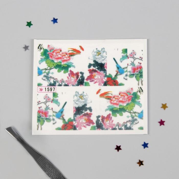 """Слайдер-дизайн для ногтей """"Пионы и рыбки"""", разноцветный"""