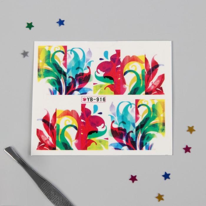 """Слайдер-дизайн для ногтей """"Красочный узор"""", разноцветный"""