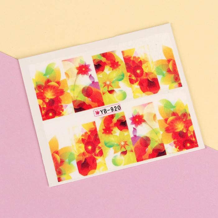 """Слайдер-дизайн для ногтей """"Оранжевые цветы"""", разноцветный"""