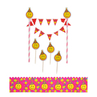 "Set for cake decorating ""Smileys"", 1 garland, 4 spades, 1 tape"