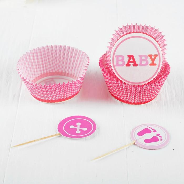 """Украшение для кексов """"Малышка"""", набор 24 пики, 24 формочки, цвет розовый"""