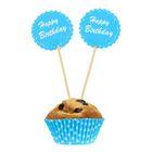 """Украшение для кексов """"С днём рождения"""", набор 24 пики, 24 формочки, цвет голубой"""
