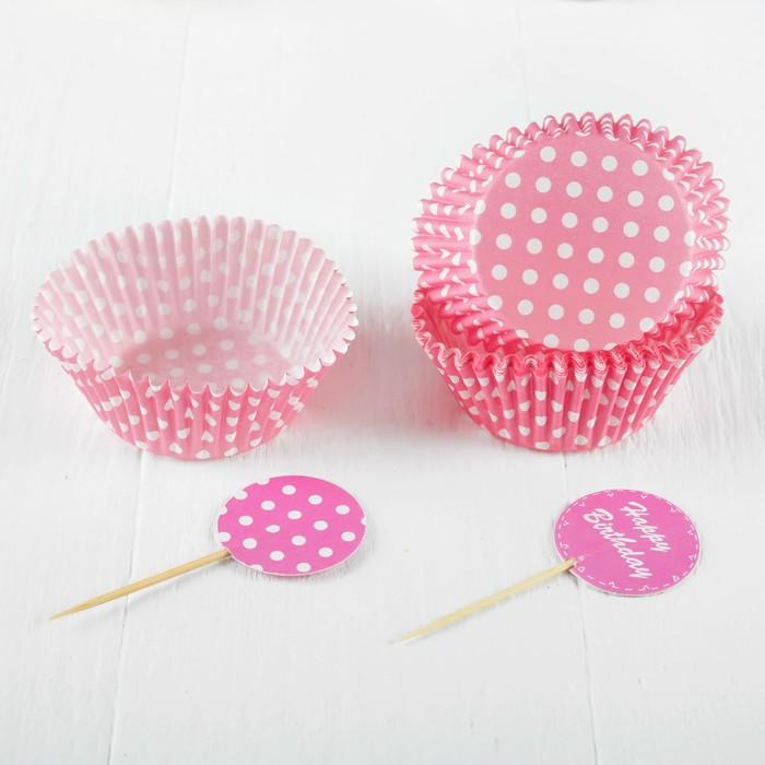 """Украшение для кексов """"С днём рождения"""", набор 24 пики, 24 формочки, цвет розовый"""