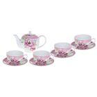 """Набор чайный """"Утренний пион"""", 9 предметов: чайник 1 л, 4 чашки 250 мл; 4 блюдца (УЦЕНКА)"""