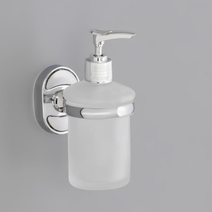 Дозатор для жидкого мыла с держателем «Нео», 150 мл, стекло, матовый - фото 4656237