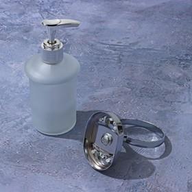 Дозатор для жидкого мыла с держателем «Нео», 150 мл, стекло, матовый - фото 7815485