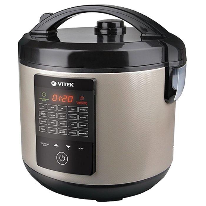 Мультиварка Vitek VT-4271 CM, 900 Вт, 5 л, 20 программ, мультиповар, отложен старт, шампань