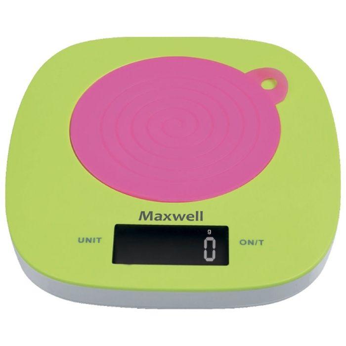 Весы кухонные Maxwell MW-1465, электронные, до 5 кг, розовый/зеленый