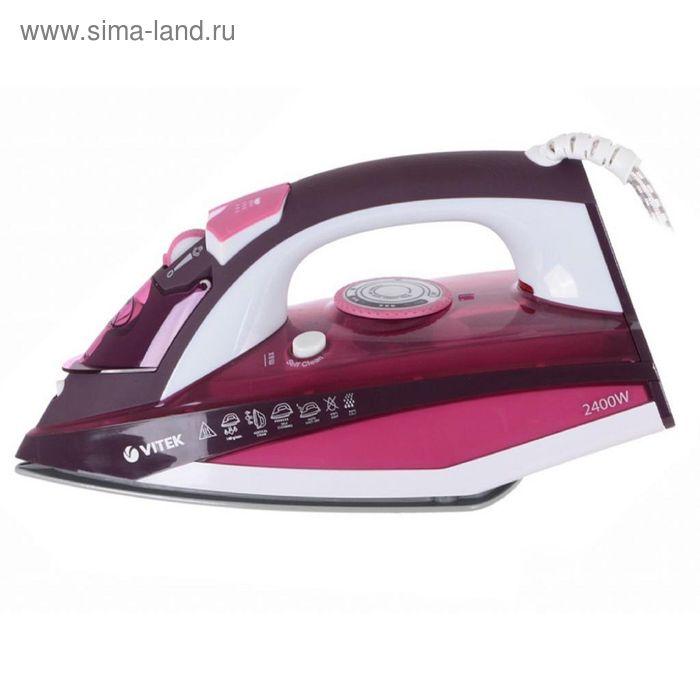 Утюг Vitek VT-1215 PK, 2400 Вт, паровой удар, вертик. отпаривание, керам. подошва, розовый  1766