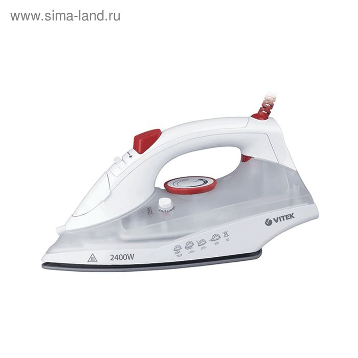 Утюг Vitek VT-1234 W, 2400 Вт, керамическая подошва, паровой удар, белый