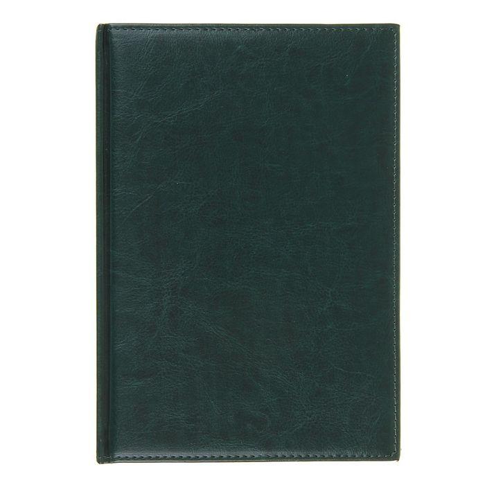 Ежедневник полудатированный, формат А5,192 листа, линия, золотой срез, перфорированный угол, ляссе, тёмно-зеленый