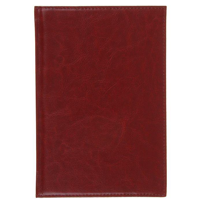 Ежедневник полудатированный,формат А5,140 листов,клетка,карта,ляссе,обложка пвх бордо