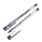 Ручка гелевая, 0.5 мм, синий стержень, прозрачный корпус