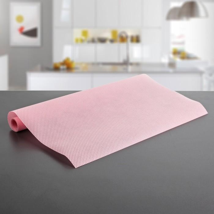"""Коврик противоскользящий сервировочный """"Ромбы"""" 45х100 см, цвет розовый"""