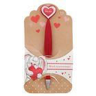"""Ручка пластиковая с сердцем """"Моей валентинке"""""""
