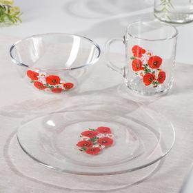 """Набор для завтрака """"Маки"""", 3 предмета: тарелка d=19,5 см, кружка 200 мл, миска 250 мл d=13 см"""