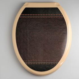 """Сиденье с крышкой для унитаза """"Декор. Кожа"""", цвет коричневый"""