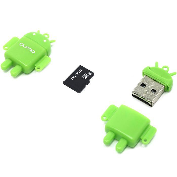 Карта памяти Qumo Fundroid  MicroSD 4GB Class 10 + USB картридер , зеленый