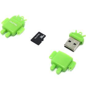 Комплект QUMO для мобильных устройств MicroSD 16GB Class10 + USB картридер FUNDROID, зеленый