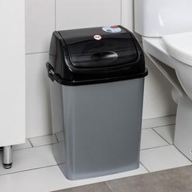 """Контейнер для мусора 18 л """"Камелия"""", цвет серебристый перламутр/чёрный"""