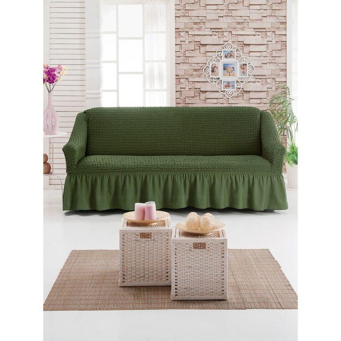 Чехол для мягкой мебели DO&CO DIVAN KILIFI на диван 3-х местный, цвет оливковый
