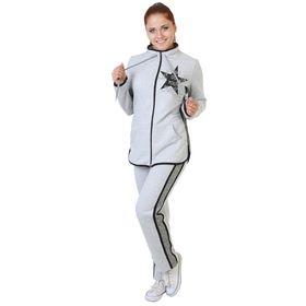 Костюм женский Шанель (фуфайка, брюки) серый, р-р 54
