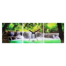 """Часы настенные, модульные, серия: Природа, """"Водопад в джунглях"""", 35х105 см, микс"""