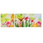 Часы-картина настенные прямоугольные «Весенние тюльпаны», 35 × 105 см