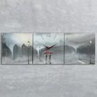 Часы-картина настенные прямоугольные «Двое под дождём», 35 × 105 см