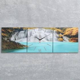 """Wall clock, rectangular, """"Forest Waterfall"""", 35 × 105 cm"""