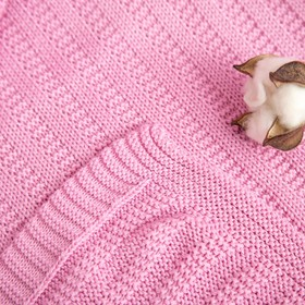 "Вязаный плед ""Этелька"" размер 70х90 см, цвет розовый"