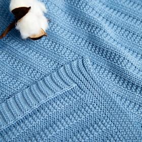 "Вязаный плед ""Этелька"" размер 70х90 см, цвет голубой"