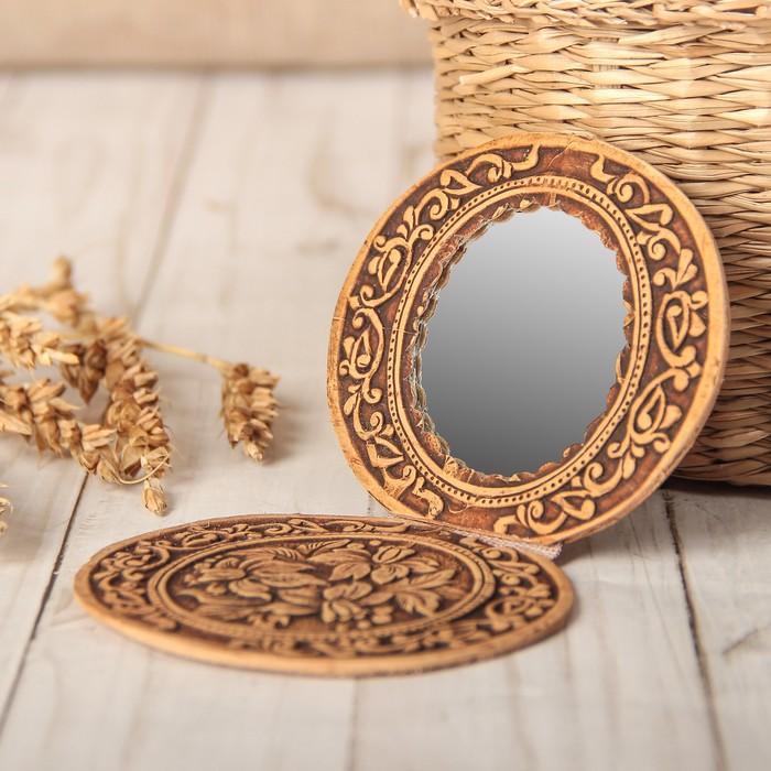 Зеркало «Цветы», на шарнирах, береста