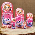 Матрёшка «Зима», круговая, розовый платок, 5 кукольная, 17 см, люкс