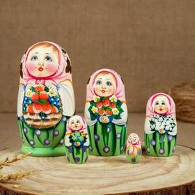 Матрёшка «Хохлома», красный платок, 5 кукольная, 15 см, люкс