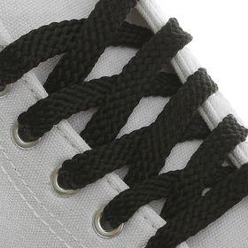 Шнурки для обуви, плоские, 8 мм, 70 см, цвет чёрный Ош