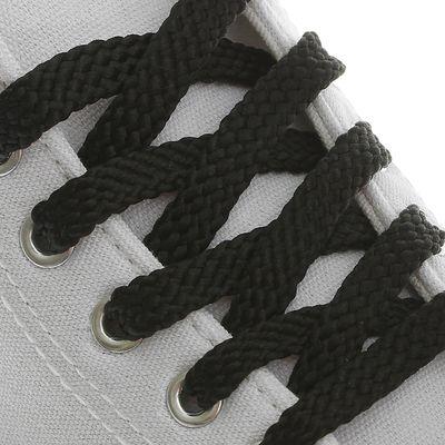 Шнурки для обуви плоские, 8мм, 70см, цвет чёрный