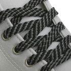 Шнурки для обуви, плоские, 8 мм, 80 см, пара, цвет чёрно-серый