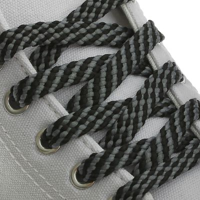 Шнурки для обуви, 8 мм, 80 см, пара, цвет чёрно-серый