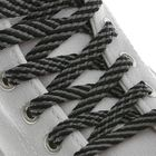 Laces for shoes, flat, 8 mm, 90 cm, pair, black grey