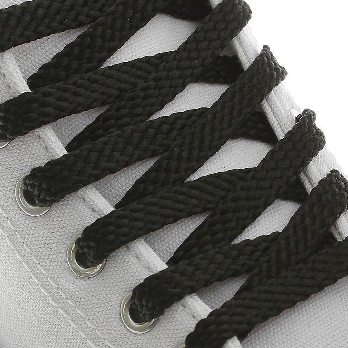 Шнурки для обуви, плоские, 8 мм ? 100 см, пара, цвет чёрный