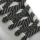 Laces for shoes, flat, 8 mm, 100 cm, pair, black grey