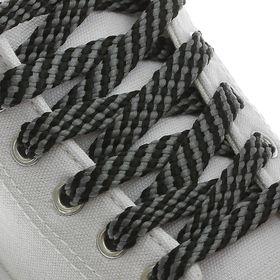 Шнурки для обуви, плоские, 8 мм, 100 см, пара, цвет чёрно-серый Ош
