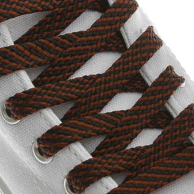 Шнурки для обуви плоские, 8мм, 120см, цвет чёрно-коричневый