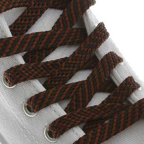 Шнурки для обуви плоские, 8 мм, 130 см, пара, цвет чёрно-коричневый Ош