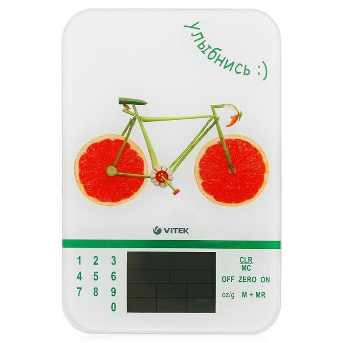 """Весы кухонные Vitek VT-2413 W, электронные, до 5 кг, белый/рисунок """"велосипед"""""""