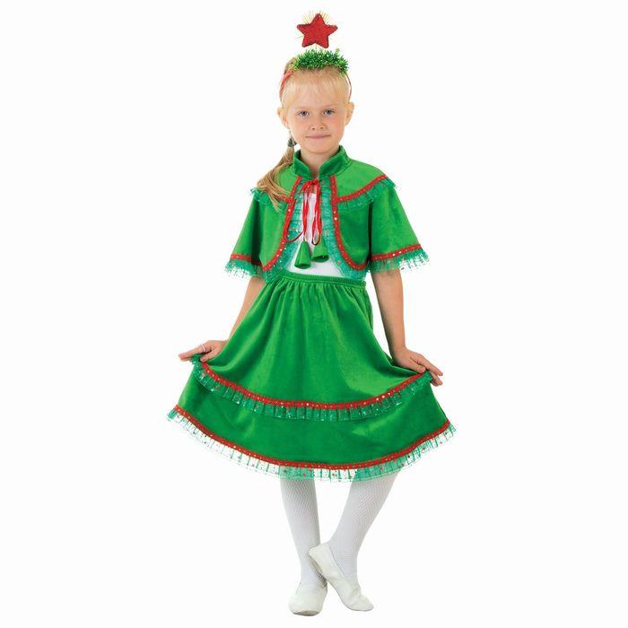 """Карнавальный костюм """"Ёлочка из плюша"""", юбка, пелерина, ободок со звездой, р-р 32, рост 128 см"""