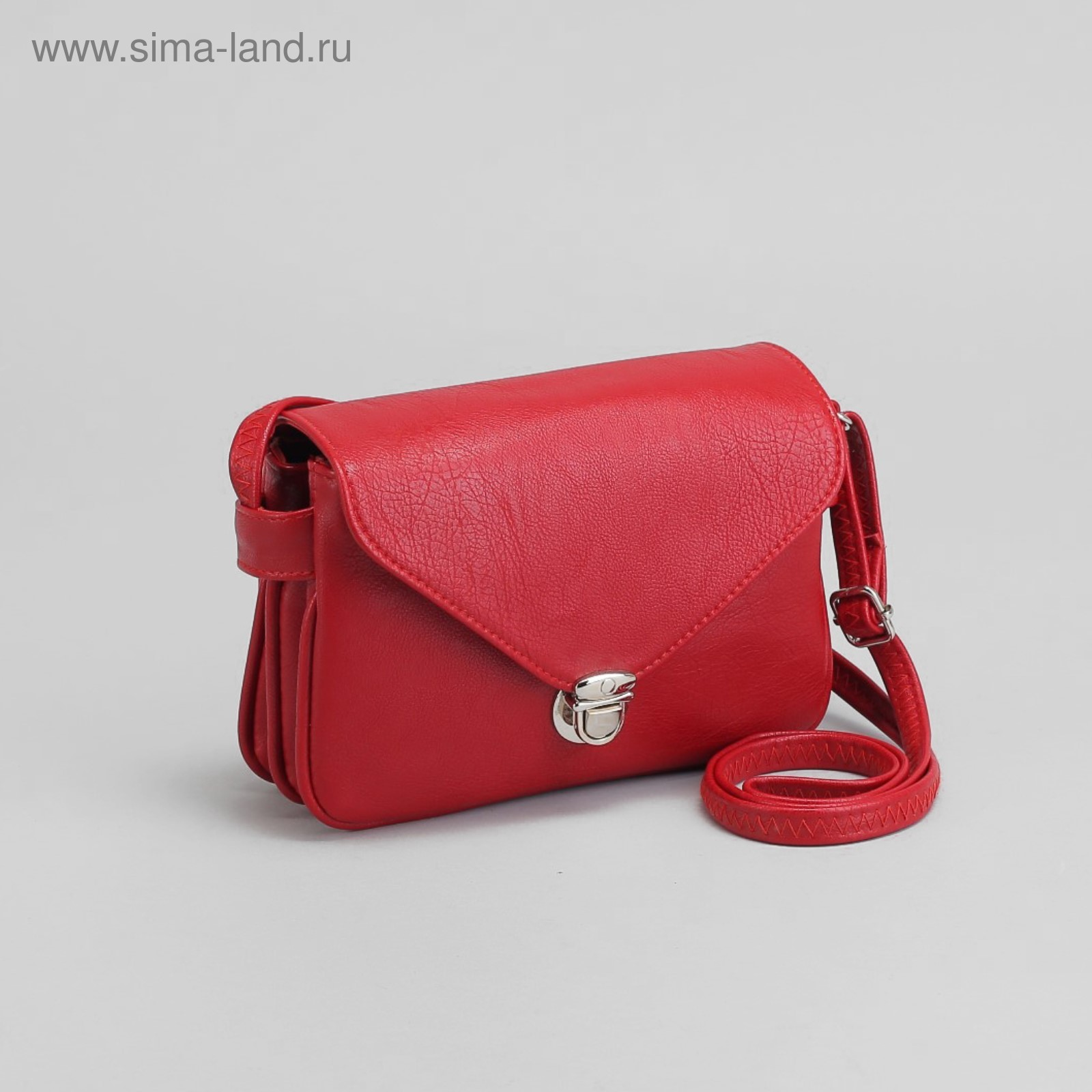 5a532e6f5ce2 Сумка женская, отдел на молнии, наружный карман, длинный ремень, цвет  красный